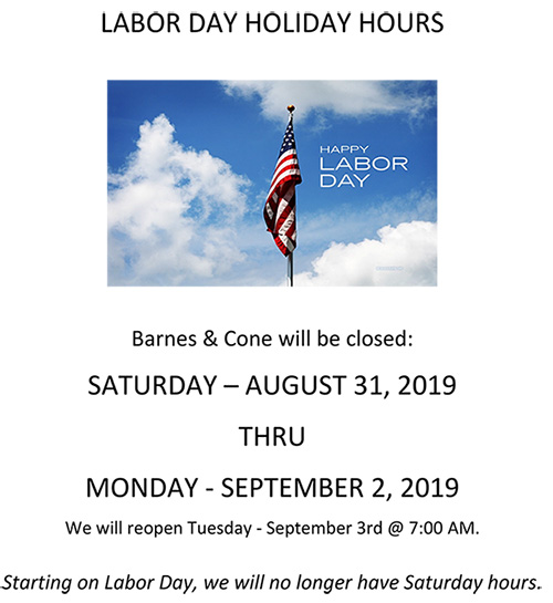 LABOR DAY HOLIDAY HOURS 2019