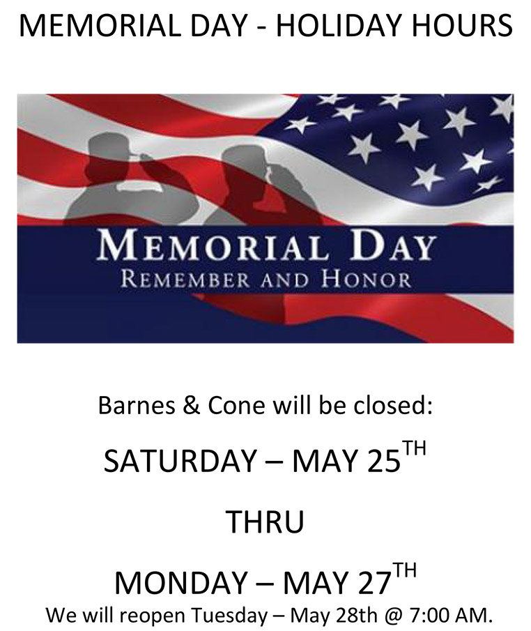 MEMORIAL DAY - HOLIDAY HOURS 2019