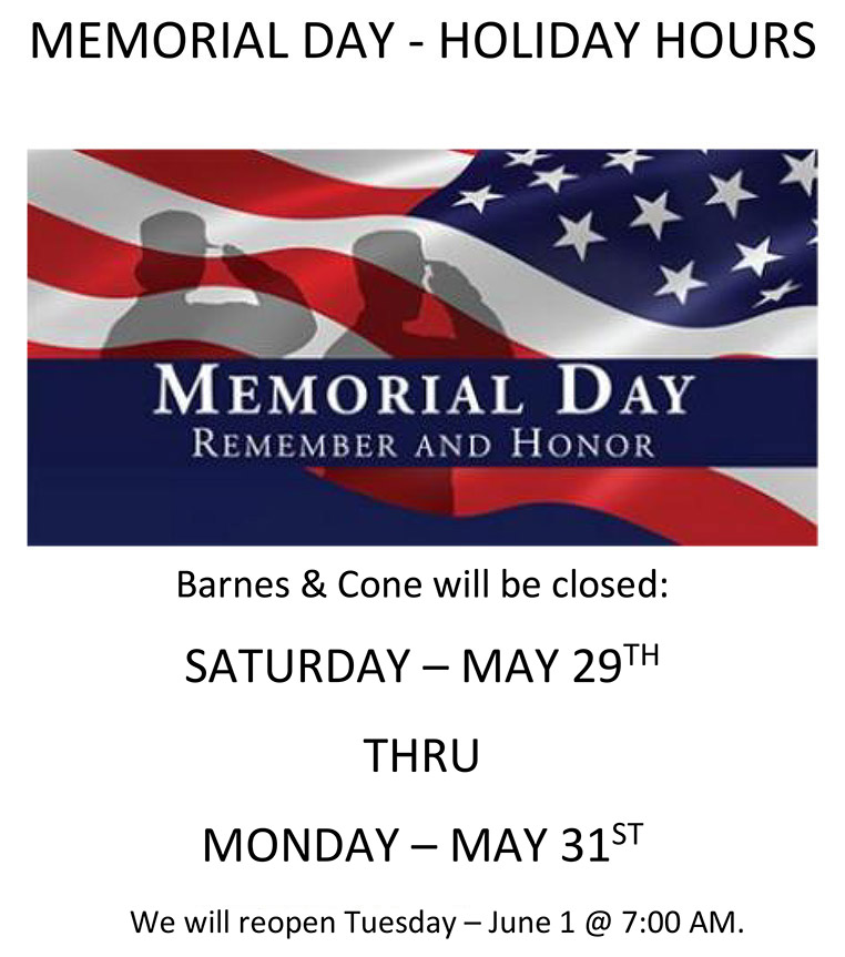 MEMORIAL DAY - HOLIDAY HOURS 2021